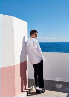 Model Simon Nessman sports a fall-winter 2016 look from Prada.