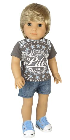 American Girl Boy Doll Clothes - Silly Monkey - Grey Junior Pilot Tee and Denim Shorts - OOAK, $20.00 (http://www.silly-monkey.com/products/grey-junior-pilot-tee-and-denim-shorts-ooak.html)