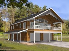 012G-0112: 2-Car Garage Apartment Plan with Deck and Office
