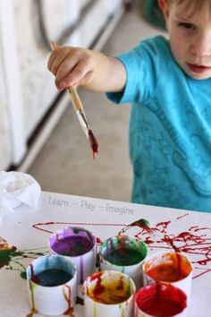 An edible finger paint recipe made with sweetened condensed milk.