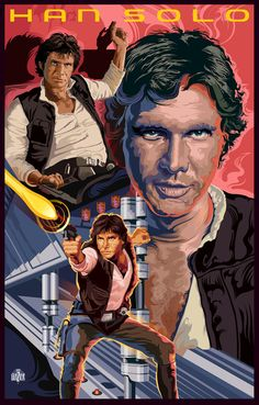 Star Wars Han Solo On Tatooine Poster by Garth Glazier. This Star Wars Han Solo art depicts the sequence on Tatooine where Solo confronts and escapes establishing his credibility as a bad boy. Han Solo And Chewbacca, Han And Leia, Star Wars Han Solo, Star Wars Poster, Star Wars Art, Star Trek, Stargate, Cuadros Star Wars, Star Wars Legacy