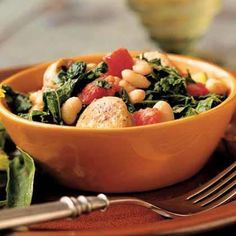 White Bean and Sausage Ragout with Tomatoes, Kale, and Zucchini   Chock-full of vegetables, this one-pot ragout—a thick, well-seasoned stew—warms up a chilly winter evening. If you've never had kale, this dish makes the most of its sweet, earthy flavor.