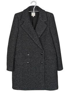 Manteau Chiné En Laine Noir Pablo pour FEMME sur la boutique en ligne Place  des tendances 370394ff8a9