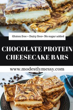 Indulge your cravings with these high protein cheesecake bars! They can be made #dairyfree and #glutenfree  #recipes #glutenfreerecipes #glutenfreebaking #healthyrecipes #healthydesserts #desserts #dessertfoodrecipes #dessertrecipes