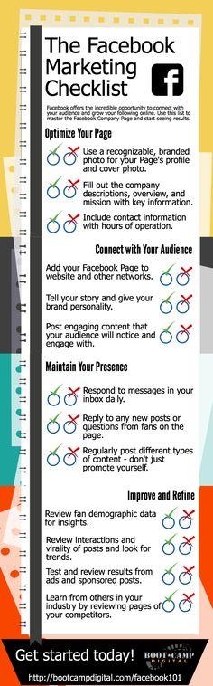 Hola: Una infografía con una Checklist del marketing en FaceBook. Vía Un saludo