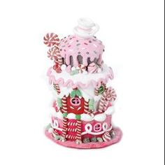 """5.75"""" Gingerbread Kisses LED Lighted Pink Cake House Christmas Decoration"""
