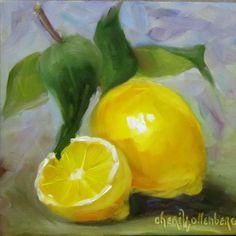 Görsel Sanatlar Deposu / Fine Arts Archive: Cheri Wollenberg Watercolor Fruit, Fruit Painting, Lemon Painting, Watercolour Painting, Watercolours, Nature Drawing, Pastel Art, Simple Art, Art Archive