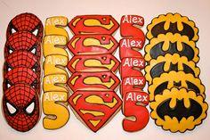 Super Hero Birthday Cookies by Cookie Couture, LLC Superman Party, Superhero Party, Boy Birthday Parties, 5th Birthday, Birthday Ideas, Spiderman Cookies, Iced Sugar Cookies, Paint Cookies, Avengers Birthday