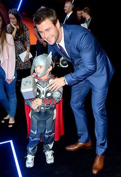 Chris Hemsworth got acquainted with a pint-size fan at the London premiere of The Avengers: Age of Ultron on April 21.