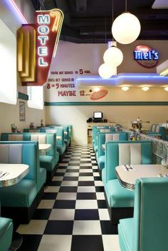Tommy Mel's, american diner-inspired place in Barcelona. The colour scheme and neon signs are along the same lines as what I would love to have in my own place.