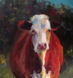 Cow Painting  Patience  8x16 Original Painting by CariHumphryArt, $175.00