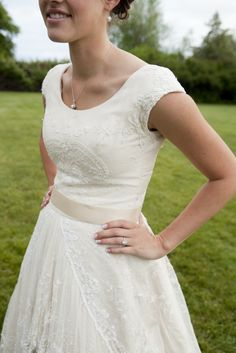 Lace overlay on this modest wedding dress bodice. made from 2 vintage lace bed spreads from the 1920's