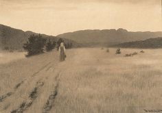 Theodor Kittelsen (Norwegian, Midtsommerkveld i Eggedal [Midsummer Night in Eggedal]. Pencil, pen and wash, 37 x cm. Most Popular Artists, Pen And Wash, Art Nouveau, Black And White Landscape, Creatures Of The Night, Gothic Horror, Nature Paintings, Landscape Art, Impressionism