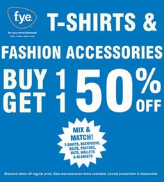 BOGO 50% off tees & fashion accessories!