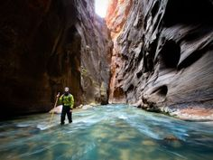 At times feet deep and only 20 feet across, the Narrows was cleaved into the earth by the Virgin River. Hiking The Narrows, Hiking Trails, Hiking Places, Places To Travel, Travel Stuff, Zion National Park, National Parks, The Places Youll Go, Places To See