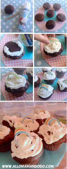 cupcakes nuages arc-en-ciel