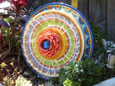 Garden Plate Flower #698 Drought Resistant.    Garden Yard Art glass and ceramic plate flower.  Glass Flower Garden