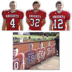 Custom corrugated plastic Team Player Sports Cutouts, comparable to Custom Fatheads! Great team product for sports, band and club fundraisers of all kinds. Baseball Playoffs, Football Banquet, Football Signs, Football Players, Football Helmets, Baseball Caps, Football Player Gifts, Hockey, Baseball Mom