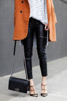 Brown Lapel Double Breasted Woollen Coat with Detachable Hood, CHOIES collaboration, Camel Coat, Winter style, casual chic, Zara faux leather biker pants, Zara Oversized grey knit sweater, Chanel Boy bag, VALENTINO 'Rockstud' leopard print pumps, Winter Basic