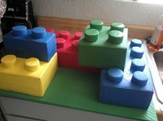 This is a Lego Cake, but I plan on using a cake mold like this one to kast blocks, paint, and put throughout the room