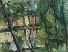 Maurice de Vlaminck - Landscape under Trees, Houses and Lake