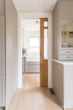 Emtek pocket door hardware ideas for 2019 Pantry Design, Kitchen Design, Home Renovation, Layout Design, Pocket Door Hardware, Glass Pocket Doors, Style Me Pretty Living, Up House, Kitchen Layout