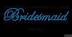 Blue Bridesmaid diamante iron on transfer - hen party, do, bachelorette, wedding