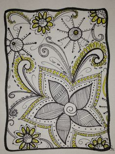 Flowers in black and yellow. zen Tangle /  Doodle Art