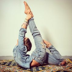 """""""Don't hold the pose, reach for it! #bluejeans #yoga #loveandalliscoming Photo: @rtamarra"""""""