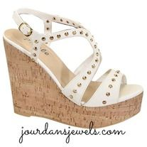 These GORGEOUS studded white wedges are going fast! Super adorable and will match anything!