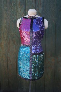 80s Color Block Heavily Sequined Mini Dress, Oh Johnny Silk Sequin New Wave Club Dress, 80s New Wave Club Kid Body Con Dress, 80s Punk Dress by HippieGypsyBoutique on Etsy