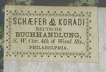 1857, Philadelphia PA, Schaefer & Koradi, german booksellers, label by Exile Bibliophile, via Flickr