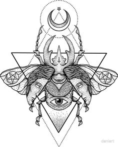 Occult Beetle II Art Print by deniart Mandala Tattoo Design, Tattoo Designs, Geometric Tattoo Design, Geometric Tattoos, Tattoo Ideas, Armband Tattoos, Sleeve Tattoos, Girl Tattoos, Tattoos For Women