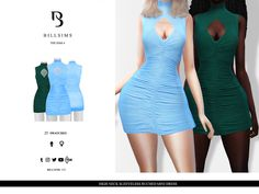 Bill Sims' High Neck Sleeveless Ruched Mini Dress Sims 4 Mac, Sims Cc, Sims 4 Clothing, Female Clothing, Sims 4 Custom Content, Bodycon Dress, Clothes For Women, Mac Book, Sims Resource