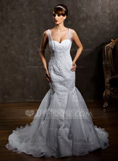 Trumpet/Mermaid Sweetheart Court Train Satin Tulle Wedding Dress With Ruffle Lace Beading (002012818)