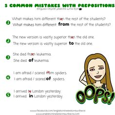 Common mistakes with prepositions, English Online Lessons with Eva