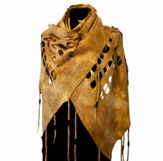 Felted shawl/scarf tribal style deerskin color tans by parvana, $350.00