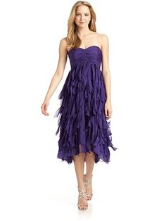Badgley Mischka - Purple Silk Dress - Saks.com