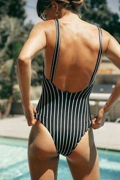 black and white striped swimwear one piece