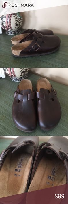 Leather Birkenstocks Authentic Brown leather Birkenstocks.  Excellent condition.  Worn out only once!  Right top has some leather imperfections as pictured. Birkenstock Shoes Flats & Loafers