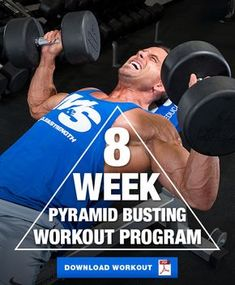 8 Week Plateau Busting Pyramid Workout Program is part of fitness Videos Mulher Frases - Burst through your muscle building plateau with this 8 week pyramid workout program The pyramid sets in this workout are sure to challenge your muscles! Lifting Workouts, Weight Training Workouts, Gym Workout Tips, Workout Challenge, Fun Workouts, Workout Splits, Workout Men, 8 Week Workout Plan, Ripped Workout