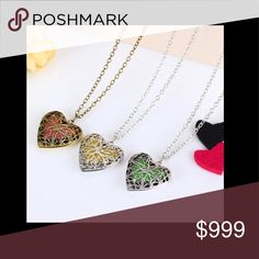 """Aromatherapy ❤️ Necklace Essential oil necklace with gold color heart locket.  Costume jewelry.  🔹Enjoy the therapeutic benefits of oils all day by adding 1-2 drops of essential oil to the heart shaped wool felt pads. 🔹L=23"""". Jewelry Necklaces"""
