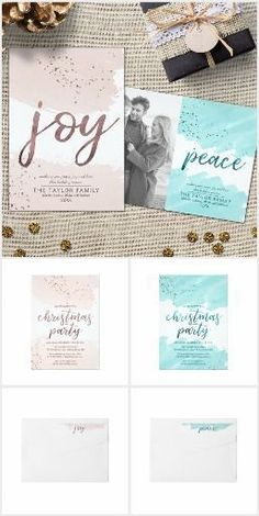 "Joy and Peace | Rose Gold and Teal Christmas Set ""Joy and Peace"" Rose Gold and Teal Christmas suite featuring soft blush pink or teal watercolor brushes with a touch of faux rose gold or teal sparkles and the festive word ""joy"" or ""peace"" in faux rose gold foil. Mix and match the products in this collection to create a customized holiday suite. This elegant Christmas collection includes all of the essentials: family photo Christmas cards, business holiday cards, envelopes, labels, stamps…"