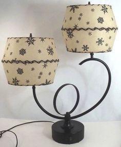 Fabulous Rare 1950s LAMP W/ DOUBLE FIBERGLASS SHADES Atomic Snowflake Starburst