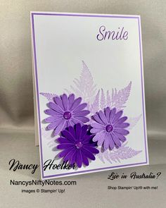 Daisy Lane by Stampin' Up! Daisy Delight Stampin' Up, Purple Daisy, Purple Themes, Gerber Daisies, American Crafts, Card Sketches, Stamp Sets, Paper Cards, Stampin Up Cards