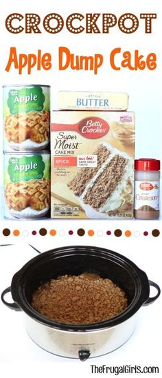 Crock Pot Dump Cake Recipe From Cinnamon, Spice And Everything Nice Makes This The Perfect Fall Dessert Just Dump It In And Walk Away Crockpot Apple Dump Cake, Spice Dump Cake Recipe, Apple Dump Cakes, Dump Cake Recipes, Recipe Spice, Spice Cake, Easy Crockpot Dump Meals, Crockpot Cake Recipes, Slow Cooker Desserts