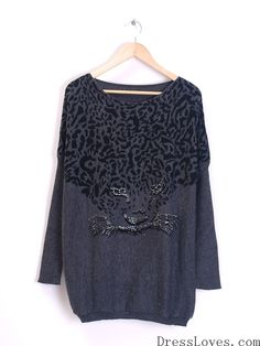 Dark Grey Knitting Round Neck Tiger Head Printing Loose Women Free Size Sweater @H2729g