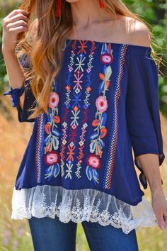 """This off shoulder top has plenty of details to get excited about! Colorfully embroidered florals, lace trim and ties at the sleeves make it extra cute. Complete the look with our """"Love it Tassel Earring."""" Fabric is a cotton-blend. Off Shoulder Tops, Off Shoulder Blouse, Teacher Outfits, Teacher Clothes, Bohemian Style, Boho, Blue Door Boutique, Dress Codes, Wardrobes"""