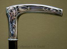 Canne Art Nouveau en argent niellé - Décor à feuilles de gui - ca 1900