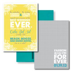 Beach Wedding Invitations - Grey, Yellow and Teal. Love the color scheme. The wording is pretty great too.
